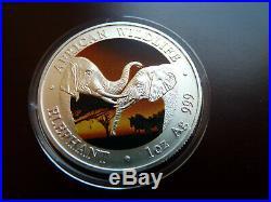 Zambia / Sambia 5.000 Kwacha 2002 1 oz 999 Silber Color Farb Elefant / Elephant