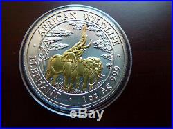 Zambia / Sambia 5.000 Kwacha 2003 1 oz 999 Silber Gildet Elefant / Elephant