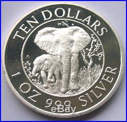 Zimbabwe 1996 Elephants 10 Dollars 1oz Silver Coin, Proof